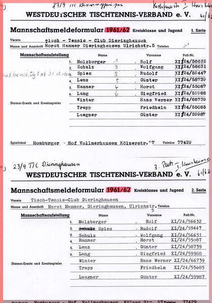 1961-62 Meldeformular Kreisklasse