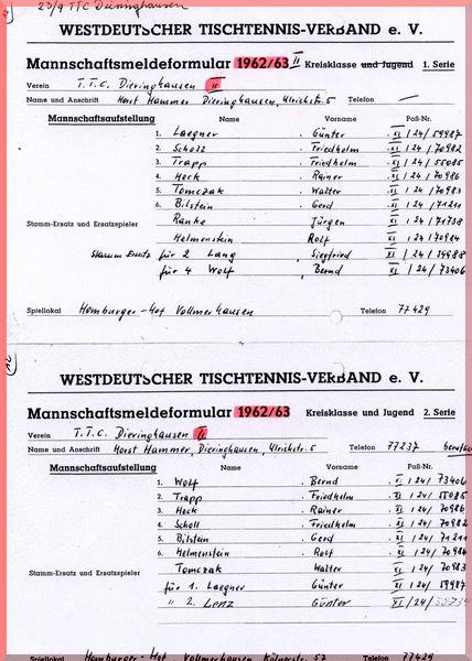 1962-63 Meldeformular Kreisklasse_ 2_ Kreisklasse