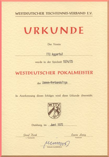 1975 Pokalsieger Damen Verbandsliga