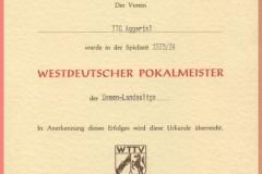1974 Westdeutscher Pokalmeister Damen Landesliga